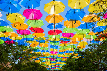 Colorful hanging umbrellas in a outdoor plaza in Miami