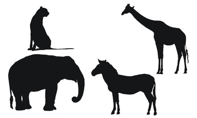 African wild animal silhouettes