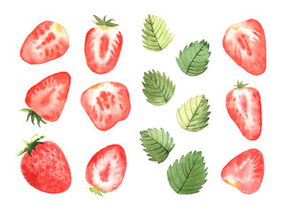 A set of strawberries and leaves, in a watercolor style.