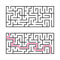 Rectangular labyrinth with a black stroke. A game for children. Simple flat vector illustration isolated on white background. With the answer.