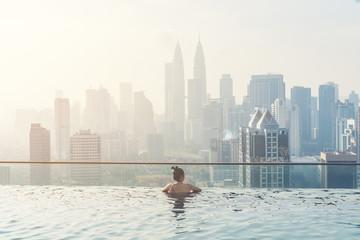 Swimming pool on roof top with beautiful city view kuala lumpur malaysia