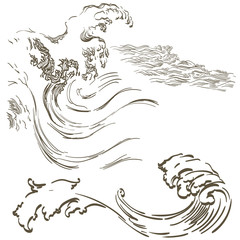 Hand drawn wave vector in Japanese style. Grey ocean icons.