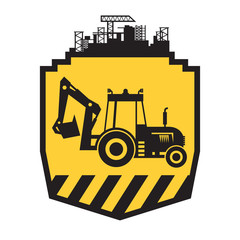 Tractor icon or sign on yellow