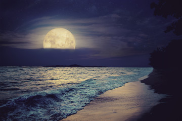 Wall Mural - Beautiful fantasy tropical sea beach. Full moon (super moon) with cloud over seascape in night skies. Serenity nature background at nighttime. vintage and retro color filter style.