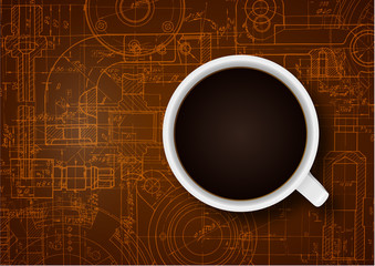 Technical drawing .Cup of coffee ,background .Coffee concept