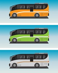Low floor Mini Bus Vector in Blue sky Bacground
