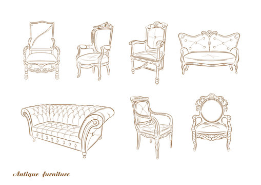 Set of antique furniture .Armchair, sofa, vector