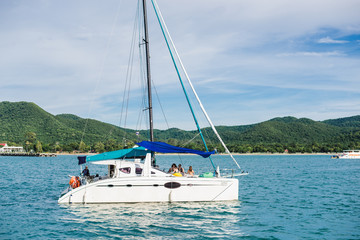 yachting in the blue ocean