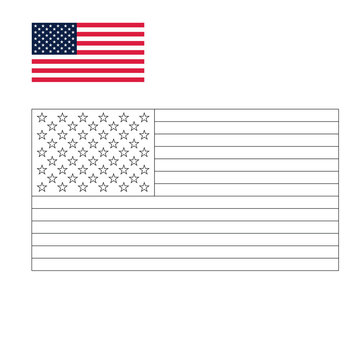 American flag or Flag of the United States symbol icon on background colouring page vector