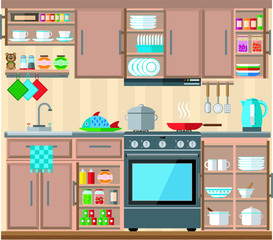 Cozy home kitchen, vector illustration on the theme of the interior.