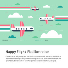 Airplanes in the sky, happy flight, flat illustration, flying aircraft with rainbow