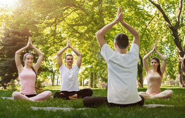 Group of people practicing yoga in park