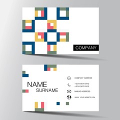 Modern colorful business card. Inspiration from pixel.Vector illustration EPS10.
