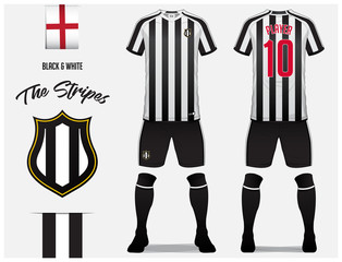 Soccer jersey or football kit template for football club. Black and white stripe football shirt with sock and short mock up. Front and back view soccer uniform. Football logo and Flag label. Vector.