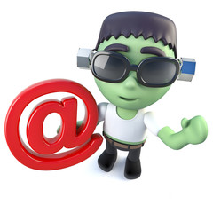 3d Funny cartoon frankenstein monster holding an email address symbol