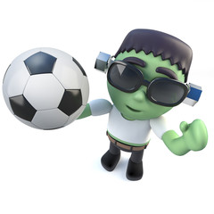 3d Funny cartoon frankenstein monster holding a soccer ball