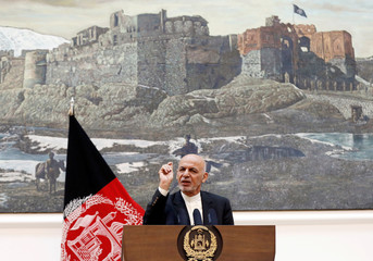 Afghan President Ashraf Ghani speaks during a news conference in Kabul