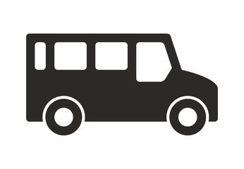 Bus Icon, Monochrome style. isolated on white background