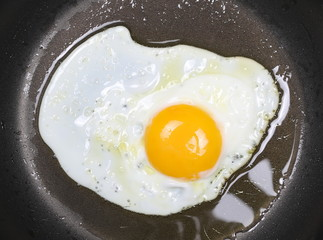 Close up fried eggs on black pan background