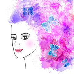 abstract girl with flowers in her hair. vector