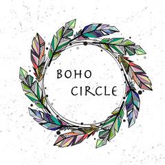 Feathers circle grunge background