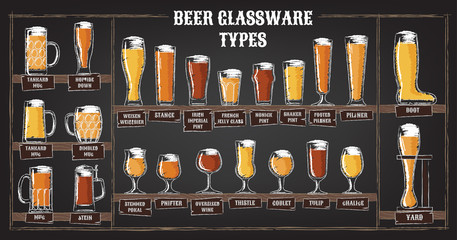 Beer types. A visual guide to types of beer. Various types of beer in recommended glasses. Vector illustration