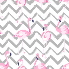 Abstract seamless pattern with exotic flamingo on chevron background. Summer decoration print. Vector illustration