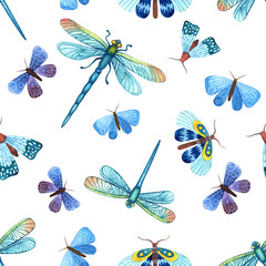 Seamless pattern with watercolor blue dragonflies, butterflies and moths
