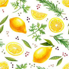 Watercolor hand drawn seamless pattern with lemons and herbs