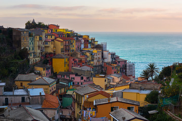 Manarola at sunrise, one of colorful villages of Cinque Terre, Italy