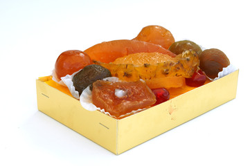 Box of delicious candied fruits, specialty of the city of Nice in French Riviera