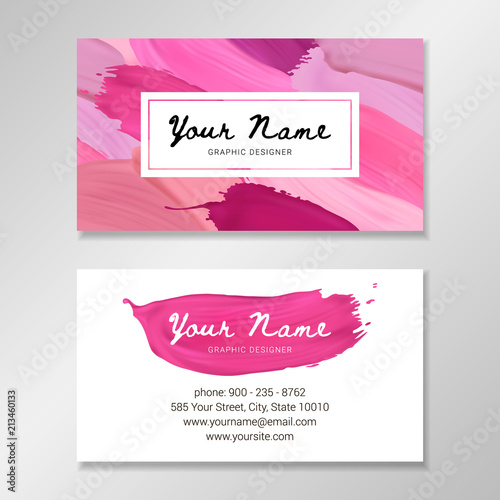 Makeup artist business card template with lipstick strokes in makeup artist business card template with lipstick strokes in different colors vector illustration eps 10 cheaphphosting