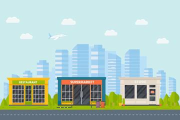 Set of vector flat design restaurants exterior and shops facade: book store, barber shop, supermarket, coffee