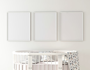 Poster frame mockup with oval crib in child room 3d rendering