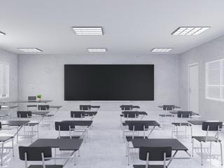 Modern classroom, desk 3d rendering