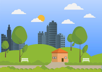 City and nature flat design vector background