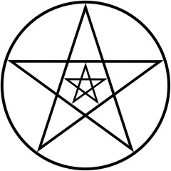 Outline drawing of pentagram for coloring and meditation