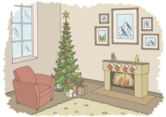 Living room graphic Christmas tree color interior sketch illustration vector