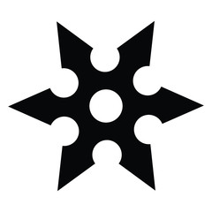 A black and white silhouette of a shuriken
