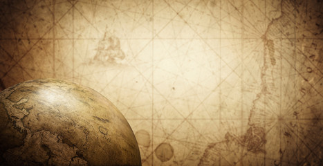 Ancient old globe on the vintage map background. Selective focus. Retro style. Science, education, travel, vintage background. History and geography team. Fototapete