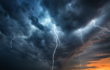 Photo sur cadre textile Tempete Lightning thunderstorm flash over the night sky. Concept on topic weather, cataclysms (hurricane, Typhoon, tornado)