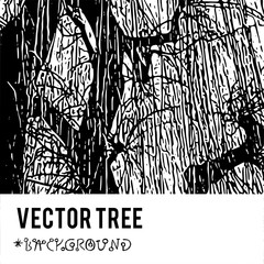 The vector silhouette of a tree for the background with natural foliage textures and eco grunge items for the creation of design banners, music cover, wallpapers,  flyers, websites.