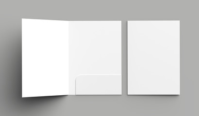 A4 size single pocket reinforced folder mock up isolated on gray background. 3D illustration.