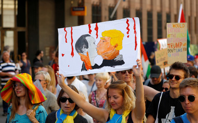 Protest ahead of Trump-Putin meeting in Helsinki