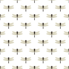 Dragonfly. Seamless pattern with dragonflies on white. Background of nature of insects.