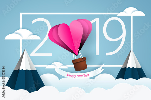 Happy new year 2019  Heart air balloon  Love theme