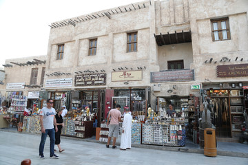 People are seen in Souk Waqif in Doha