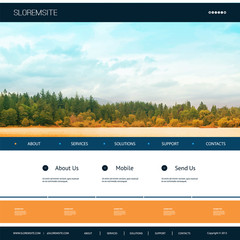 Website Design Template for Your Business with Natural Image Background - Riverside, Trees, Cloudy Sky