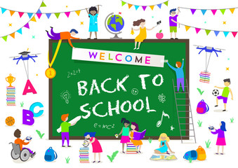 Back to school vector illustration. Group of active children around a big chalkboard with greeting. Children doing different activities liking  studying, sport, reading, explore and recreation.