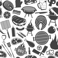 Vector barbecue icons seamless pattern or background
